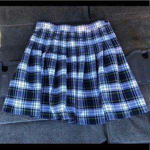 Lands End Skirt School Uniform Blue Green Plaid 10